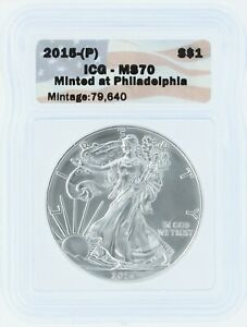 2015-P Silver Eagle ICG MS70 S$1 Flag Tag Minted at Philadelphia