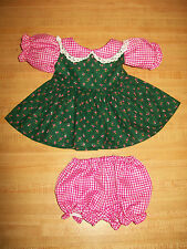 "16"" CPK Cabbage Patch Kids ROSE PINK GINGHAM CHECK+ FLOWERED CALICO DRESS+ PANTY"