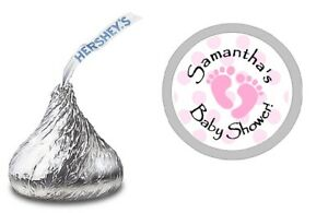 PINK FOOTPRINTS PERSONALIZED HERSHEY KISS LABELS STICKERS SHOWER PARTY FAVORS