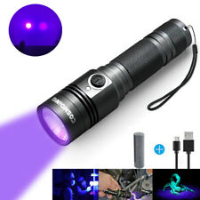 UV Light Blacklight 395nm LED USB Rechargeable Tactical Flashlight 18650 Torch