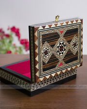 "Moroccan Marquetry Rectangular Jewelry Box - Handmade Wood Case 6.5"" W"