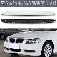 For BMW E90 E91 325i 330i 328i Front Hood Chrome Trim Kidney Grille Left &