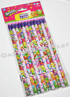 12 X SHOPKINS PENCILS w/erasers FOR PARTY CANDY BAGS GIFTS FAVORS STOCKING STUFF