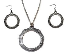 Stargate TV Series Silver SG-1Antique Finish Metal Necklace & Earring SET