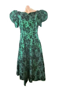 Vintage 80's 90's Alfred Angelo Dress Green Black Floral Puffy Prom Bridesmaid