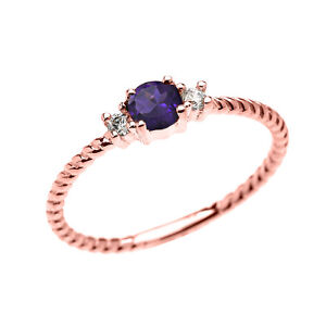 14k Rose Gold Dainty Solitaire Amethyst & White Topaz Rope Stackable Ring