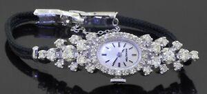 Hamilton antique 14K WG elegant 2.34CTW diamond cluster mechanical ladies watch