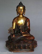 Old Tibetan Brass Buddhism Bodhisattva Sakyamuni Buddha Statue