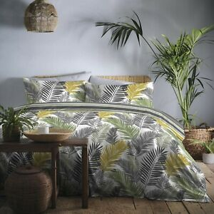 Tropical Jungle Leaf Duvet Cover Striped Quilt Bedding Set Double Ochre Green