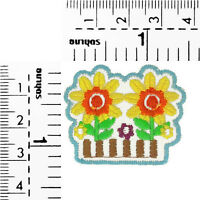 #3000R Smiley Face Flower Message Embroidered Sew Iron On Patch Applique Badge