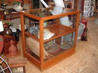 Tiger Oak Mission Glass Case, Desk, Display Case, Nice.