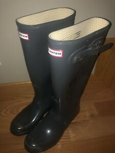 Hunter Women's Gray Gloss Rubber Rain Boots Original Tall 10 42