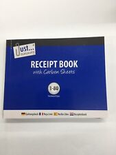 Half Size Receipt Book Numbered1-80 Pages With Carbon Sheets Business Office New