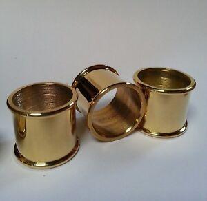3 mixed BEADED BRASS COLLARS 25mm, 26mm & 27mm diameter for Walking Stick Making