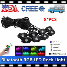 8PCS LED Rock Light Tail Lights Wireless Bluetooth RGB Color Under Off road SALE