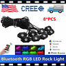 8PCS LED Rock Light Tail Lights Wireless Bluetooth RGB Color Under Off road RZR