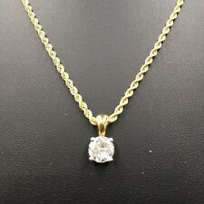 STUNNING 18ct YELLOW GOLD *ROPE CHAIN & MOISSANITE SOLITAIRE* NECKLACE   1665