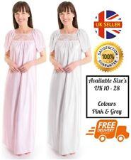 2f720c4570 Ladies Soft Silky Satin Full Length Short Sleeve Night Gown Pajamas  NIghtwear