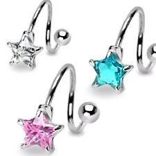 3 lot STAR GEM Pronged TWIST BELLY Button NAVEL Bar RINGS Body Piercing Jewelry