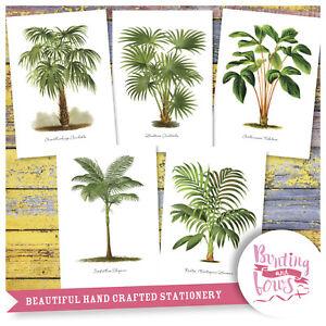 A4 Vintage Print Tropical Botanical Palms Palm Tree Reproduction - Art set of 5