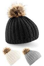 Knitted pom-pon Beanie Hat-Elección De Colores-Envio Gratis Reino Unido