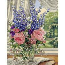 Dimensions Gold Collection Counted Cross Stitch Kit Peonies & Delphiniums 12X15