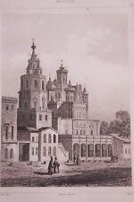 RUSSIE EGLISE DE L'ASSOMPTION A LA POKROVKA  GRAVURE SUR ACIER 1838 РОССИЯ PRINT
