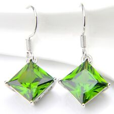 Genuine Handmade Jewelry Green Peridot Gemstone Silver Dangle Hook Earrings