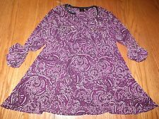 NWT WOMENS RAFAELLA CLARET PURPLE TUNIC BLOUSE MEDIUM $65 Long 3/4 Sleeve SHIRT