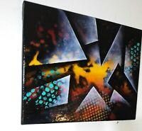 Tableau peinture abstraite a l`huile sur toile format 24/30 cm
