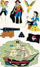 Mrs. Grossman's Giant Stickers - Skeleton Pirates - Ship, Cannon - 2 Strips