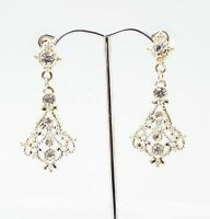 BW 1.75 in CLEAR CRYSTAL SILVERTONE FILIGREE DROP DANGLE BUTTERFLY EARRINGS NEW