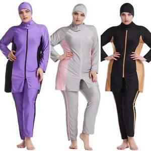 Plus Size Muslim Women's Modest Swimwear Hijab Burkini Full Cover Swimsuit Sets