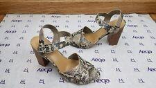 "Crown Vintage Bolero Women US 9 M Snake Pattern Sandals 4"" heel Peep Toe EUC"