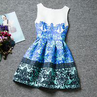 Girls Floral Print Belted Dress Kids Summer Skater Party Dresses Age 7-13 Years