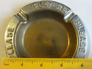 decorative players please cigarettes brass chromed vintage ashtray
