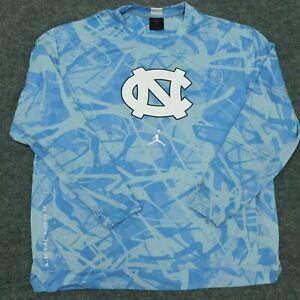 JORDAN L/S Shirt UNC Tarheels North Carolina Air Blue Polyester Men's L *flaw*