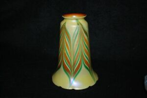 BEAUTIFUL RARE SIGNED QUEZAL GREEN PULLED FEATHER ART GLASS LAMP SHADE C1910