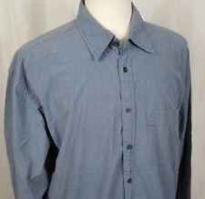 Izod Jeans Indigo Prep Shirt Men XL Button Up Long Sleeve Cotton Blue Check