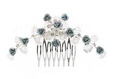 4b Bridal SP Silver Rose Flower & Crystal Hair Clip
