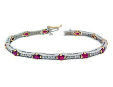 3.60ct Oval RUBY& ROUND DIAMOND BRACELET in14K Two-Toned Gold
