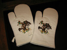 WESTERN BRONC RIDER OVEN MITTS  EMBROIDERED BRANDED DESIGN 7X12 100% COTTON