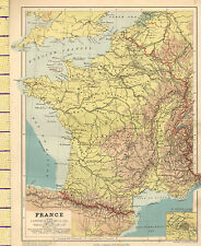 1889 Map ~ France ~ Physical Brittany Guienne Champagne Environs Of Paris