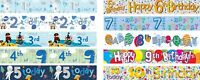 BIRTHDAY BANNERS FOR BOYS BLUE / MULTI COLOUR AGES 1 2 3 4 5 6 7 8 9 10 (AP)