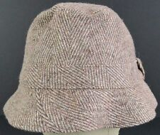 Brown elegant  embroidered bucket hat cap fitted.