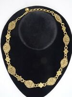 VINTAGE Signed NAPIER BYZANTINE INSPIRED GOLD TONE NECKLACE ~ 16""