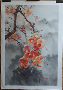 "Artwork Persimmon tree painting original oil on canvas signed in stock 24""x36"""