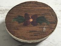Miniature Hand Painted Flower Wood Folk Art Oval Lined Box Lace Trim
