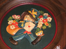 """Anri Happy Birthday 1973 wooden collector plate  8"""" round   wood carving"""