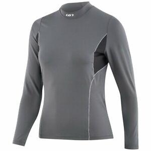 Louis Garneau Womens Drytex 2002 Mock Neck LS Grey Sports Jersey 1070228 M L
